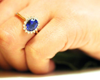 Blue Sapphire engagement ring, diamond halo ring, yellow gold sapphire ring, September Birthstone