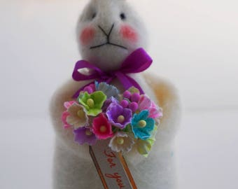 For You Soft Wool Felt Beautiful Easter Bunny