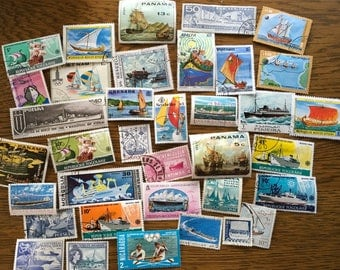 35 worldwide Ships Boats Sailboats Water craft vintage Postage Stamps paper crafting collecting collage cards scrapbooks altered art 2d