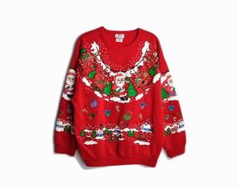 Vintage Tacky Christmas Sweater / Santa & Reindeer Sweater / Red ...