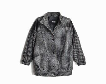 Vintage 80s Leather Shoulder Tweed Coat in Gray & Black / Wool Jacket - women's small