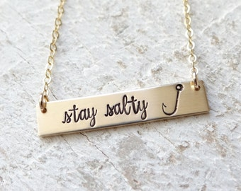 Stay Salty Bar Necklace - Hand Stamped Bar Necklace - Nautical -Gift for a Beach Lover