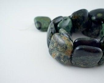 20mm Kambaba Jasper Gemstone Puff Square Beads - 15 inch strand - 20 pieces