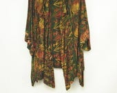 Vintage Tienda Ho Earthtone print kimono jacket one size in green rust and gold