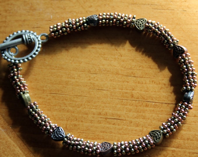 Mixed Metal Beads and Celtic Hearts Bracelet
