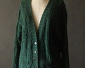 Vintage 90's Forest Green Cable Knit Button Up Cotton Blend Cardigan Sweater by Michelle Stuart, size M