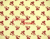 1/4 YARD 1/2, QUILT COTTON, Cream Maroon Floral Print Fabric, P&B Textiles, Coventry Cottage, Small Flower Bunches, Medium Weight, B21