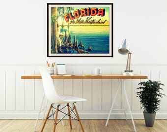 Vintage Florida Art, Vintage Florida Print, Art Deco Art, Housewarming Gift Ideas, Art Deco Florida Vacation Art, Florida Housewarming Gift