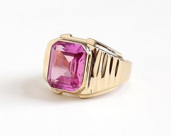 Vintage 10k Rosy Yellow Gold Created Pink Sapphire Ring -  1950s Size 8 1/4 Men's or Women's Statement Emerald Cut Pink Gem Fine Jewelry
