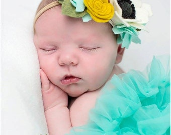 Cream Mustard Yellow Blush Pink and Aqua Felt Flower Crown Headband, Newborn, Smash Cake, First Birthday, Toddler Floral Crown