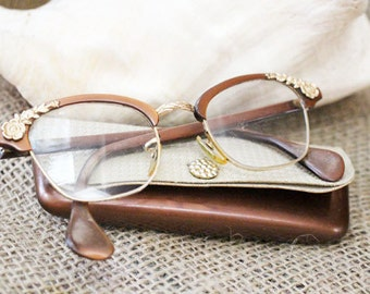 Vintage Glass Frames, Modified Cat Eye in Copper Color with Gold Flowers, Case included   -  F