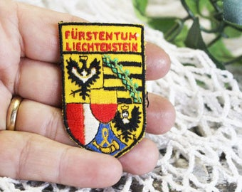 Vintage Liechtenstein Travel Souvenir Patch, Furstentum (Principality of) Liechtenstein 1960