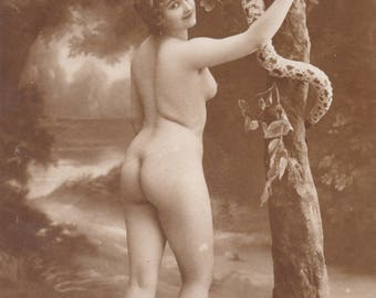 Risque Jean Agelou image of Eve and the Snake, circa 1910s