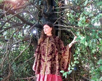 Baroque tapestry cloak cotton Ornate Romantic renaissance Handmade cape