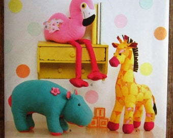Stuffed Animals: Giraffe, Hippo and Flamingo Simplicity Pattern 1082 UNCUT (Sara's)