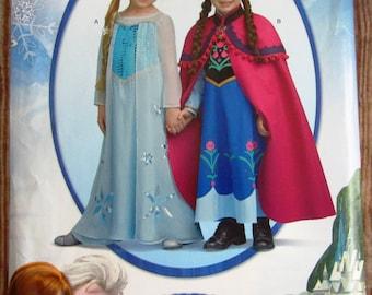 Disneys Little Girls/Girls Frozen Costume Pattern Sizes 3 4 5 6 7 8 Simplicity 1233 or S0733 UNCUT