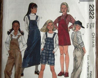 Girls Easy-fitting Overalls and Jumper in Two Lengths Sizes 7 8 10 McCalls Pattern 2322 UNCUT