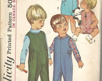 1960s Toddler's Overalls in Two Lengths and Shirt Simplicity 6157 Size 1 Breast/Chest 20 Child's Vintage Sewing Pattern