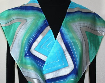 Blue, Teal, Turquoise Hand Painted Silk Scarf PERFECT SKIES, in 2 SIZES. Birthday Gift, Anniversary Gift, Bridesmaid Gift.