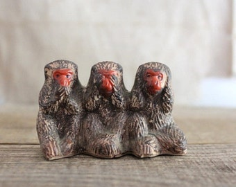 Vintage Occupied Japan Wise Monkeys, See No Evil, Hear No Evil, Speak No Evil
