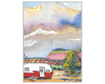 Landscape Painting ACEO Original Miniature  Watercolor Vintage Trailer Sky Clouds RV Vacation Collectible Art Handmade SFA