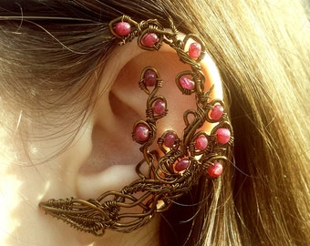 Rubies and Vines - Poison Ivy inspired Ear Cuff