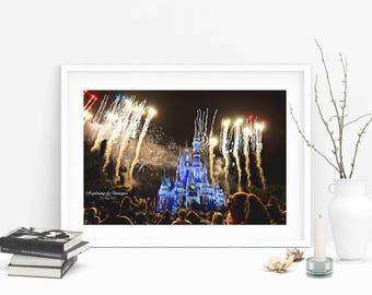 Disney Photography, Magic Kingdom Wall Art, Disney Fireworks, Cinderella Castle, Blue and Yellow Photo, Disney World Photo, Nighttime