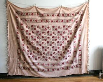 Block Print Handwoven Indian Textile Coverlet