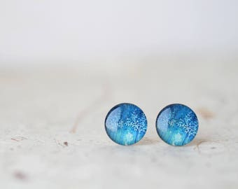 Blue Tree Glass Stud Earrings - Tree Branches Post Earrings - BUY 2 GET 1 FREE