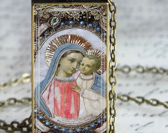 Blessed Mother Child Jesus Jewelry Virgin Mary Glass Tile Pendant Necklace Christian Necklace
