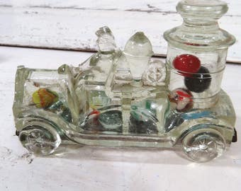 Clear Victory Glass Pumper Fire Truck Candy Container, Fireman, Red Tin Snap On Closure, Avor 2072