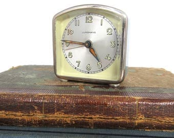 Vintage Small Junghans Alarm Clock, Made in Germany, Robin's Egg Blue, WORKS, Home Decor