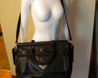 Vintage Black Leather Carry-On Weekender Travel Duffle Duffel Shoulder Bag Festival Overnight by Marie Leather Goods