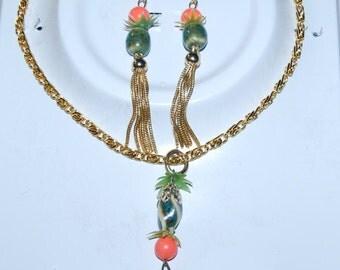 Beautiful Jewelry set Vintage Handmade Tassels Necklace Earrings Asian Garden Christmas Gifts
