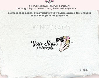 1009-1 photographer logo, photography logo, watermark, girl photographer, business logo design, camera, girl, business watermark