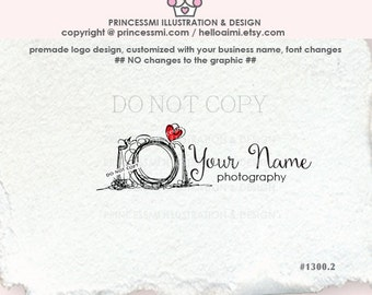 1300-2  photography logo, camera logo, whimsical camera, business card, watermark, banner, photographer watermark , camera art