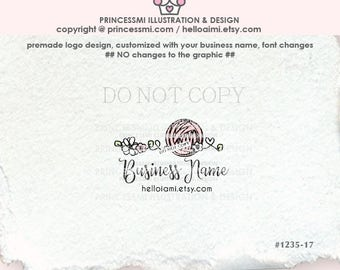 1235-17  Yarn Logo Design, ball of yarn logo, knitting logo, crochet logo, doodle swirl logo business logo boutique, hand craft knit