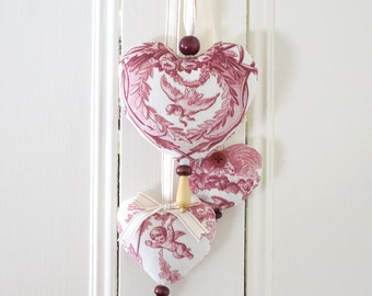 Trio of hearts Pastoral Symphony Red Pink Toile Ornament to hang on the door or on the wall Girl's Bedroom Romantic Classic Valentine Day