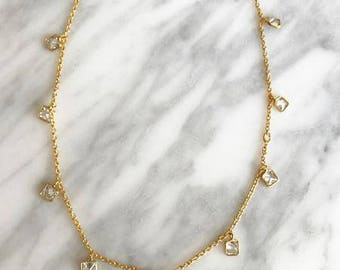 Gold Choker Necklace, Layering Necklace, Crystal Choker, Dainty Necklace, Gold Necklace