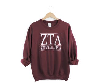New Zeta Tau Alpha Maroon Stripe Crewneck Sweatshirt // Size S-2XL // You Pick Color