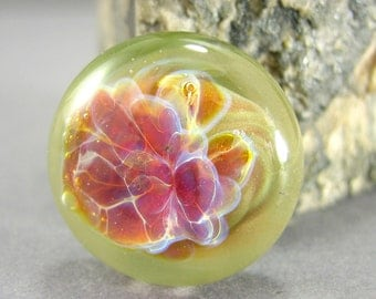 Pink Crush Floral Lampwork Glass Cabochon - Jewelry Making Supply - 18mm