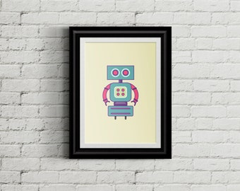 Colorful Robot Children's Wall Art Print Decor