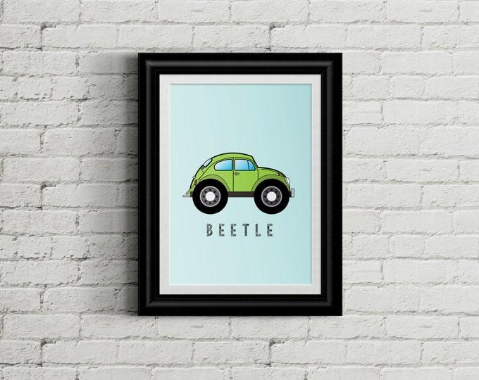 VW Beetle Kid's Bedroom Wall Art - Bug Boys Room Decor - Hippy Room Decor - Tie Dye Nursery Decor