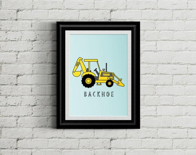 Backhoe Kid's Bedroom Wall Art - Construction Room Decor - Heavy Machinery Room Decor - Boys Nursery Decor