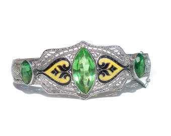 Art Deco Filigree Bracelet with Green Glass Yellow and Black Enamel Rhodium Silver Tone Metal - Antique Clamper Bracelet Jewelry