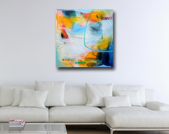 Large Wall Art, Canvas Art, Blue and Yellow Abstract Painting, Large Giclee Print, Canvas Wall Art, Modern Artwork, Expressive Abstract Art