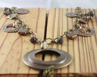 Charm Necklace/Chain and Leather/Antique Brass/ Swarovski Crystals/Long