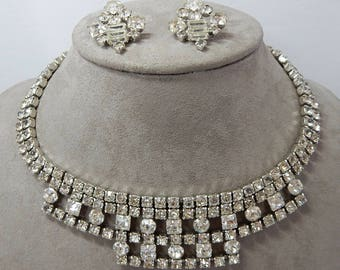 Vintage Wide Clear Rhinestone Bib Style Necklace & Earrings    OY21