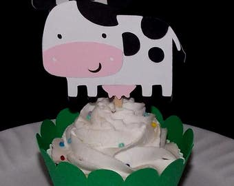 12 Cow READY TO SHIP  Farm Cupcake Topper Barnyard Baby Shower Food Pick Birthday Party Pick Old MacDonald Cow cupcake decoration wrapper