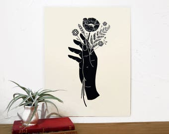 Floral Hand | Botanical Hand Print | Garden Art | Black and White